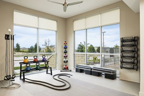 Fitness Center with Weights at Camden Lincoln Station Apartments in Lone Tree, CO
