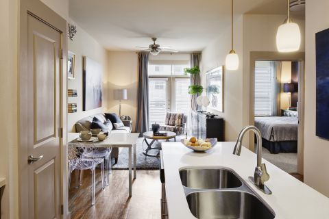 Open Concept Living and Dining at Camden Lincoln Station Apartments in Lone Tree, CO