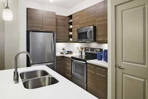 Kitchen with Quartz Countertops and Stainless Steel Appliances at Camden Lincoln Station Apartments in Lone Tree, CO