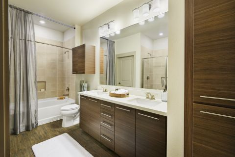 Bathroom with Double Vanity Sinks and Storage at Camden Lincoln Station Apartments in Lone Tree, CO