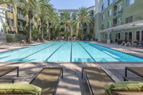 Swimming Pool with Lap Lanes at Camden Main and Jamboree Apartments in Irvine, CA