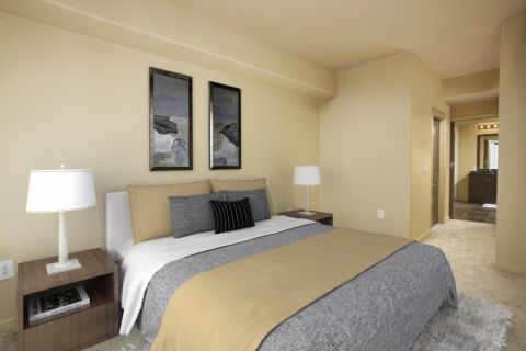 Master Bedroom and Bath at Camden Main and Jamboree Apartments in Irvine, CA