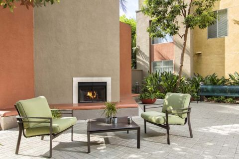 Outdoor Fireplace at Camden Main and Jamboree Apartments in Irvine, CA
