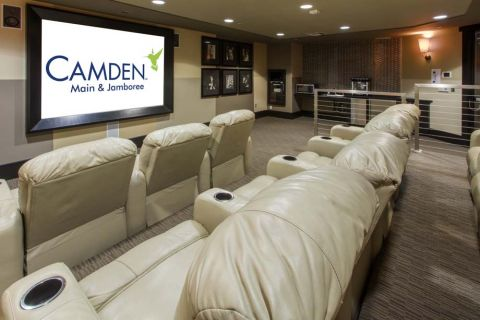 Resident Lounge with Movie Theater at Camden Main and Jamboree Apartments in Irvine, CA