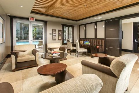 Resident Lounge with Free WiFi at Camden Main and Jamboree Apartments in Irvine, CA