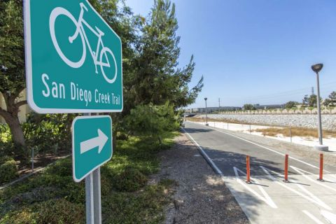 San Diego Creek Trail for Biking and Walking Nearby Camden Main and Jamboree Apartments in Irvine, CA
