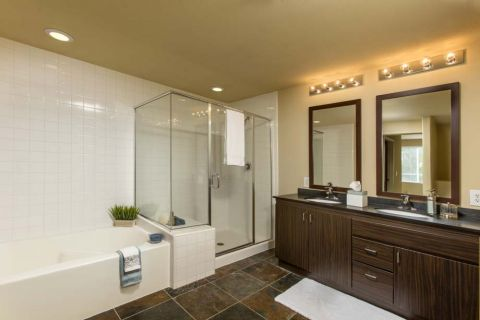 Bathroom at Camden Main and Jamboree Apartments in Irvine, CA