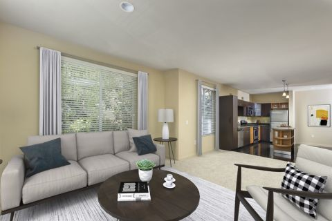 Living Room and Kitchen at Camden Main and Jamboree Apartments in Irvine, CA