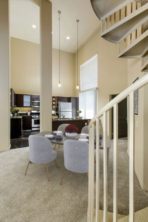 Dining Area and Kitchen at Camden Main and Jamboree Apartments in Irvine, CA