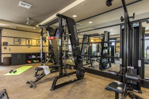 Fitness Center with Weight Training and Circuit Training Equipment at Camden Main and Jamboree Apartments in Irvine, CA