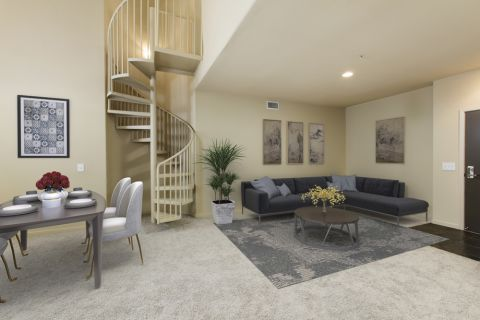 Living and Dining Area at Camden Main and Jamboree Apartments in Irvine, CA