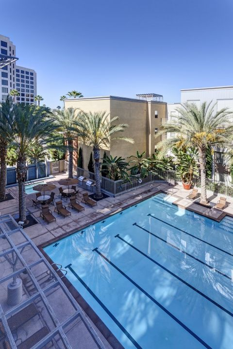Aerial View of the Pool and Hot Tub at Camden Main and Jamboree Apartments in Irvine, CA