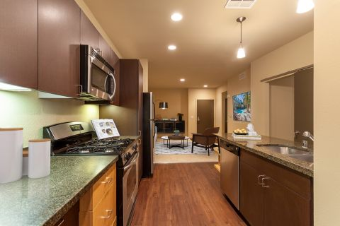 Kitchen and Living Room at Camden Main and Jamboree Apartments in Irvine, CA