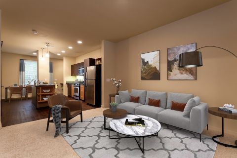 Living Room at Camden Main and Jamboree Apartments in Irvine, CA