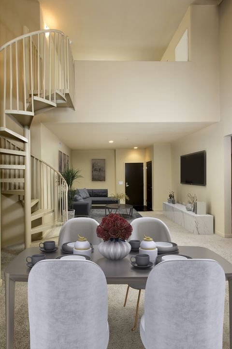Dining and Living Area at Camden Main and Jamboree Apartments in Irvine, CA