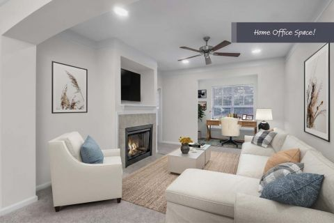 Living Room with Home Office Space at Camden Manor Park Apartments in Raleigh, NC