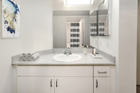 Spacious bathroom at Camden Martinique Apartments in Costa Mesa, CA
