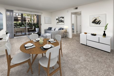 Living and dining room at Camden Martinique Apartments in Costa Mesa, CA