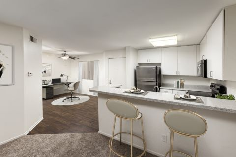 Kitchen and home office space at Camden Martinique Apartments in Costa Mesa, CA