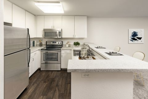 Kitchen with stainless steel appliances at Camden Martinique Apartments in Costa Mesa, CA