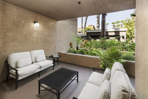 Patio at Camden Martinique Apartments in Costa Mesa, CA