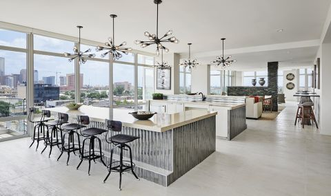 Sky Lounge with Gourmet Demonstration Kitchen at Camden McGowen Station Apartments in Houston, TX