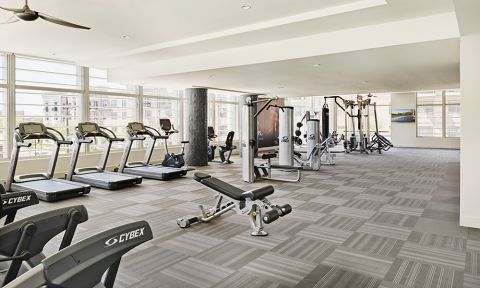 24-hour Fitness Center with Cardio Equipment at Camden McGowen Station Apartments in Houston, TX