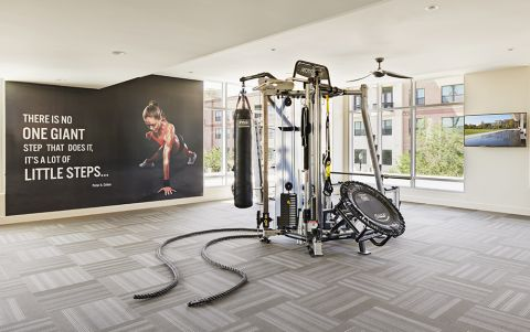 Fitness Center with Cardio Equipment and Free Weights at at Camden McGowen Station Apartments in Houston, TX