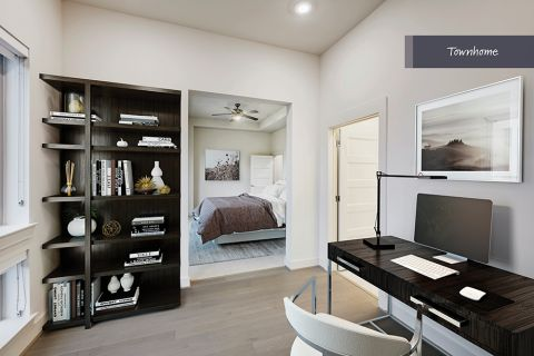 Bedroom with study attached at Camden McGowen Station Townhomes in Houston, TX