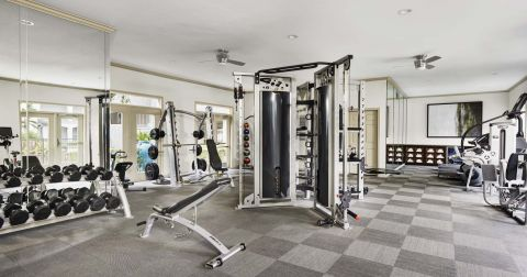 Fitness Center with Free Weights at Camden Midtown Houston Apartments in Houston, TX