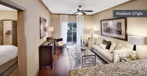 Modern Style Living Room and Dining Room at Camden Midtown Houston Apartments in Houston, TX
