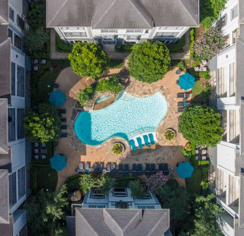 Aerial View at Camden Midtown Houston Apartments in Houston, TX