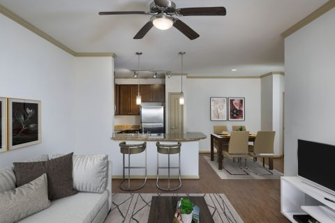 Living Room and Kitchen at Camden Montague Apartments in Tampa, FL
