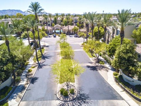 Aerial View of the Entrance to Camden Montierra Apartments in Scottsdale, AZ