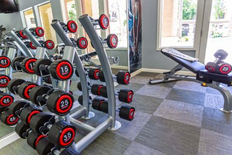Fitness Center with Full Set of Free Weights at Camden Montierra Apartments in Scottsdale, AZ