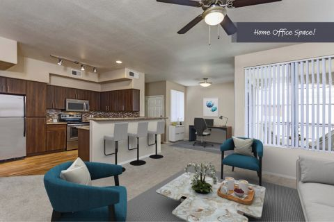 Living Room with Space to Work from Home at Camden Montierra Apartments in Scottsdale, AZ