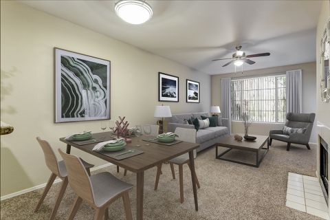 Dining and Living Room in One Bedroom Apartment at Camden Montierra Apartments in Scottsdale, AZ