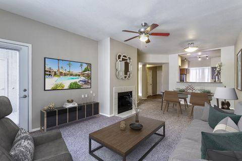 Living, Dining and Kitchen in Open-Concept One Bedroom Apartment at Camden Montierra Apartments in Scottsdale, AZ