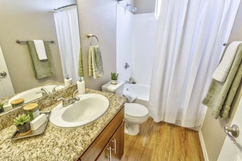 Bathroom with Granite Countertops at Camden Montierra Apartments in Scottsdale, AZ