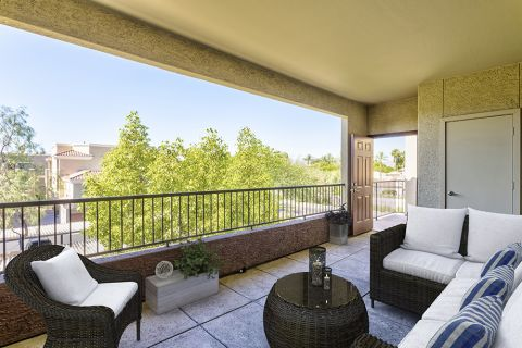Private Patio Lounge in Entryway from Front Door at Camden Montierra Apartments in Scottsdale, AZ