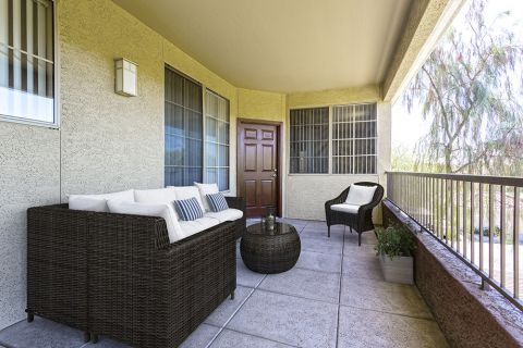 Private Patio Lounge in Entryway of Two Bedroom Apartment at Camden Montierra Apartments in Scottsdale, AZ
