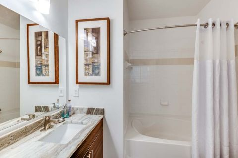 Newly Renovated Bathroom with Undermount Sink and Soaking Tub at Camden Monument Place Apartments in Fairfax, VA