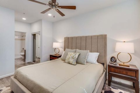 Newly Renovated Spacious Bedroom with Closets and Bathroom Attached at Camden Monument Place Apartments in Fairfax, VA