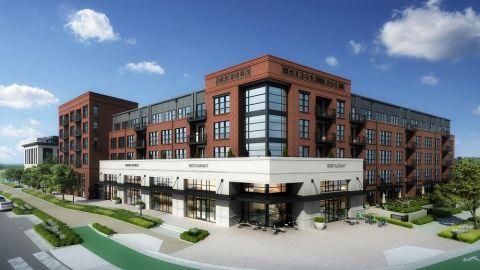 Building exterior at Camden Noda Apartments in Charlotte, NC