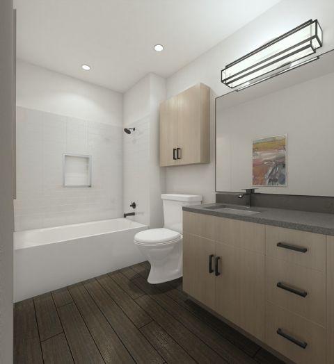 Scheme one bathroom at Camden Noda Apartments in Charlotte, NC