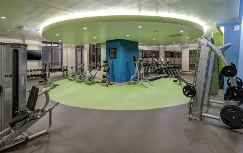 Fitness Center with Cardio and Free Weights at Camden NoMa Apartments in Washington, DC