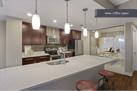 Kitchen and Home Office Space at Camden NoMa Apartments in Washington, DC