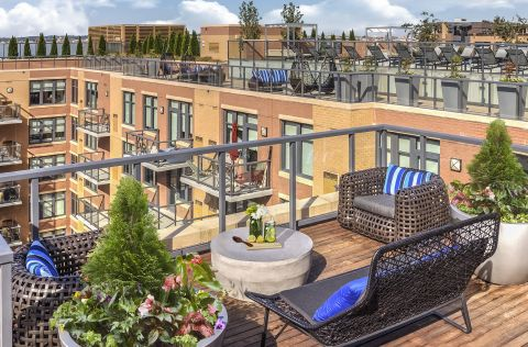 Rooftop Seating at Camden NoMa Apartments in Washington, DC
