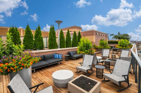 Outdoor Fire Pit on the Rooftop Lounge at Camden NoMa Apartments in Washington, DC