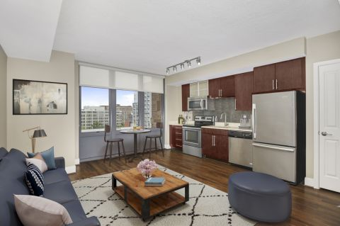Studio Living Room and Kitchen at Camden NoMa Apartments in Washington, DC